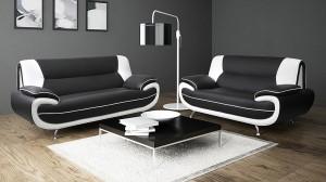 PALOMA - Salon 3+2 places Noir et Blanc