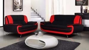 PALOMA - Salon 3+2 places Noir et Rouge