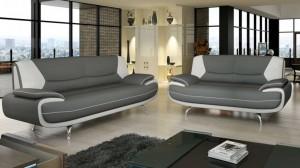 PALOMA - Salon 3+2 places Gris et Blanc