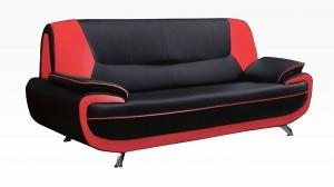 PALOMA - Salon 3 places Noir et Rouge