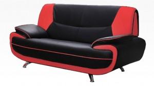 PALOMA - Salon 2 places Noir et Rouge
