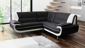 PALOMA - Canapé d'Angle Noir et Blanc