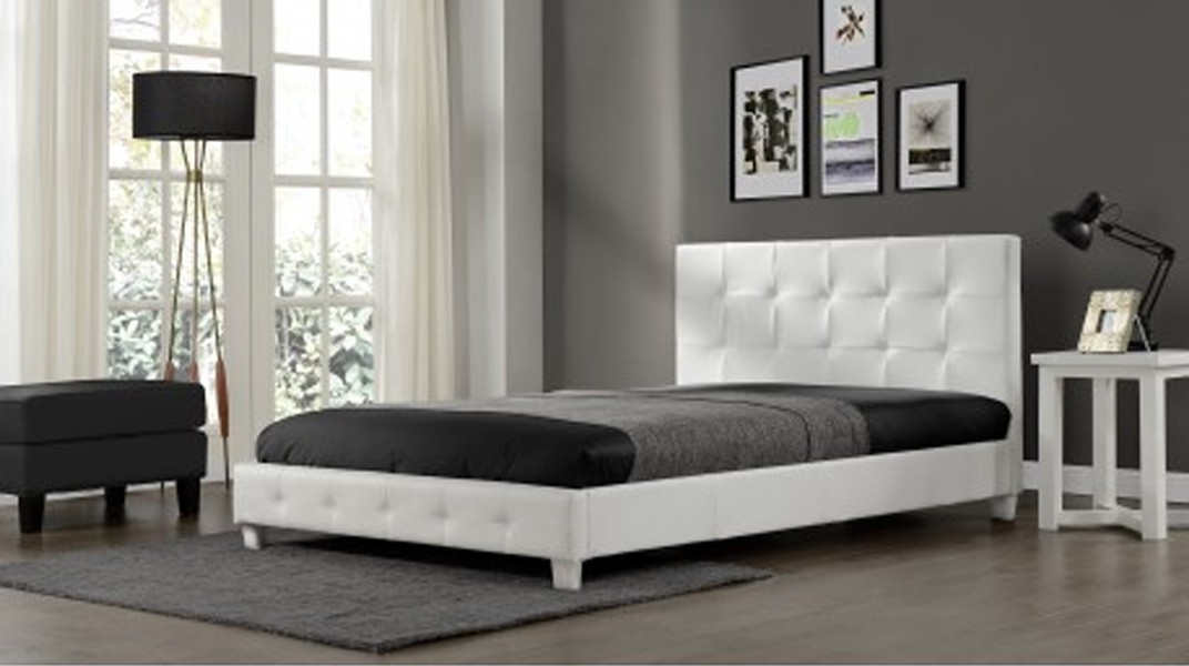 plaza lit complet blanc 160x200 cm. Black Bedroom Furniture Sets. Home Design Ideas