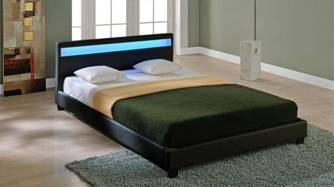 led lit complet noir 160x200 cm. Black Bedroom Furniture Sets. Home Design Ideas