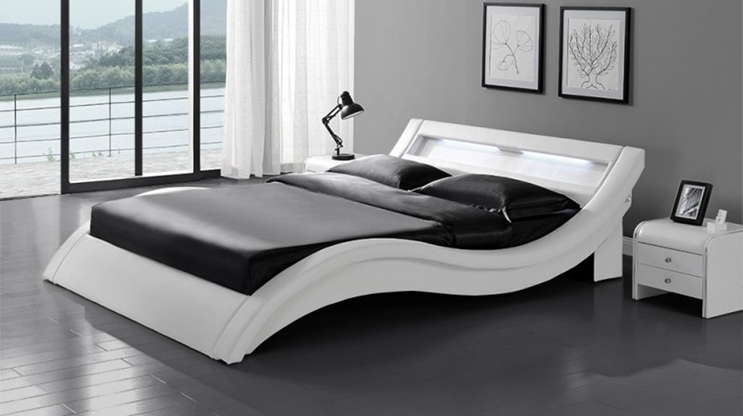 wave lit complet blanc 140x190 cm. Black Bedroom Furniture Sets. Home Design Ideas