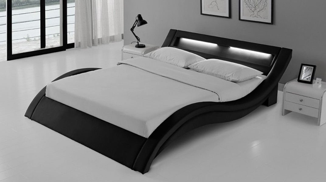 wave lit complet noir 140x190 cm. Black Bedroom Furniture Sets. Home Design Ideas