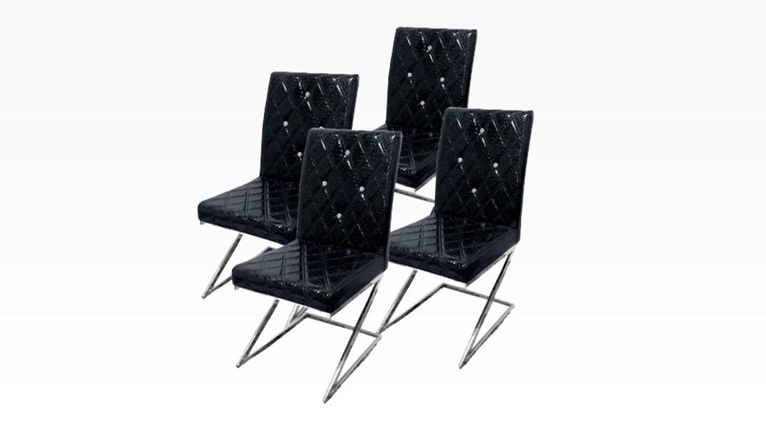 DIAMS - Lot de 4 chaises Noir