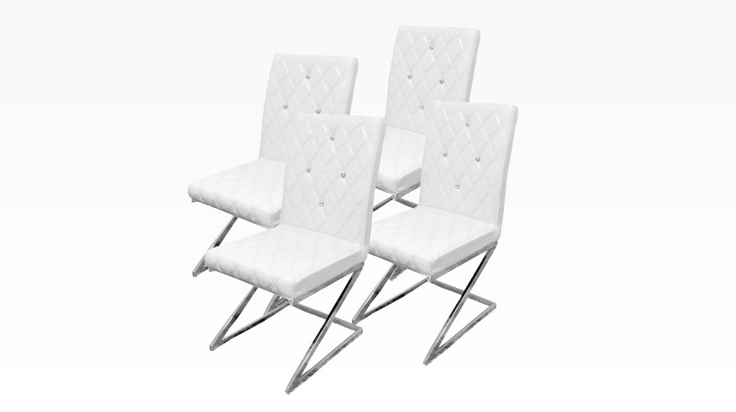 DIAMS - Lot de 4 chaises Blanc