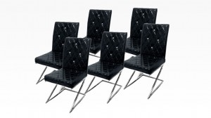DIAMS - Lot de 6 chaises Noir