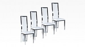 LIVING - Lot de 4 chaises Blanc