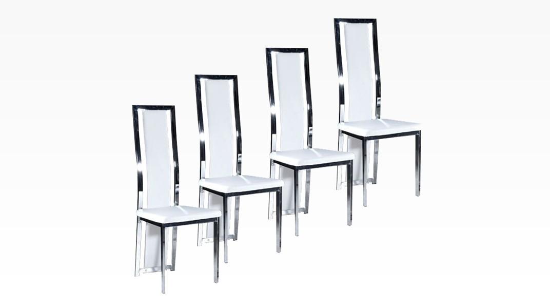 living lot de 4 chaises blanc. Black Bedroom Furniture Sets. Home Design Ideas
