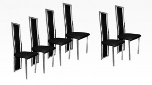 LIVING - Lot de 6 chaises Noir