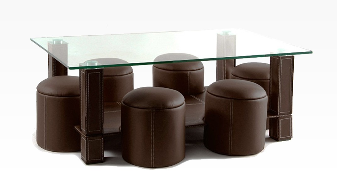 PAVY - Table Basse + 6 Poufs Marron