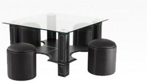 KUBY - Table Basse + 6 Poufs Noir