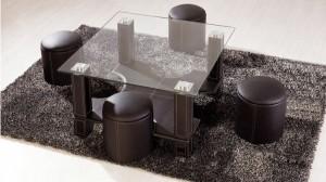 KUBY - Table Basse + 6 Poufs Marron