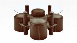 BULY - Table Basse + 4 Poufs Marron
