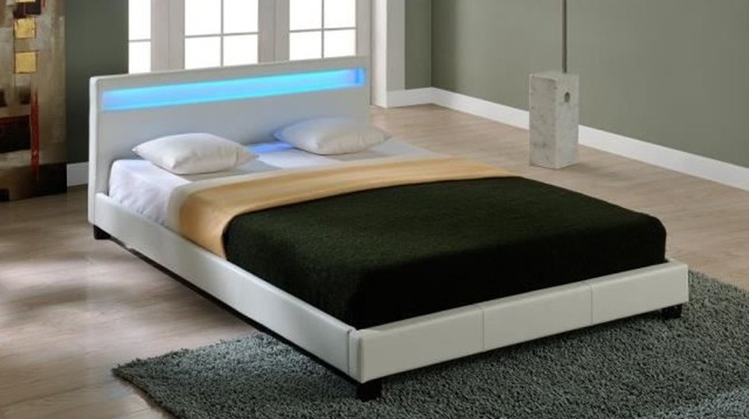led lit matelas blanc 160x200 cm. Black Bedroom Furniture Sets. Home Design Ideas