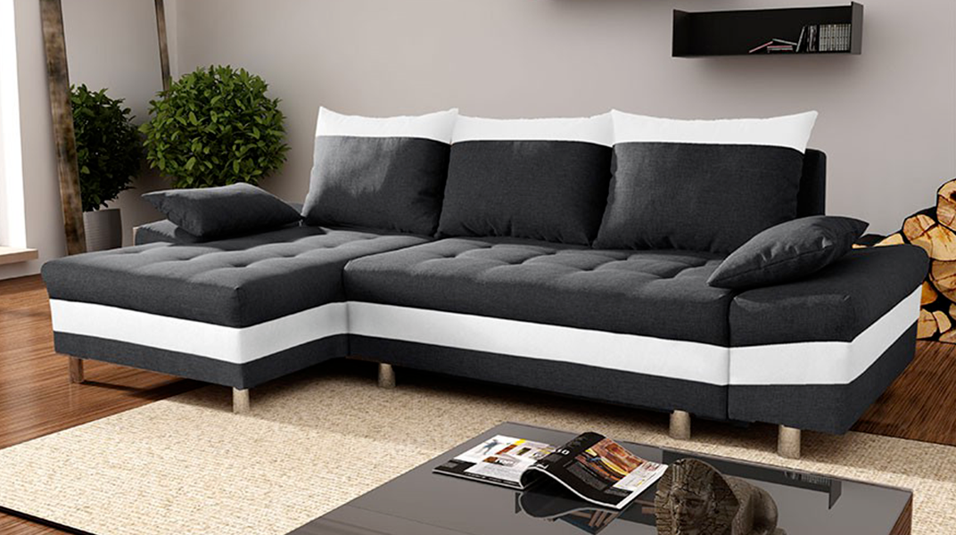 monaco canap convertible gauche noir et blanc. Black Bedroom Furniture Sets. Home Design Ideas