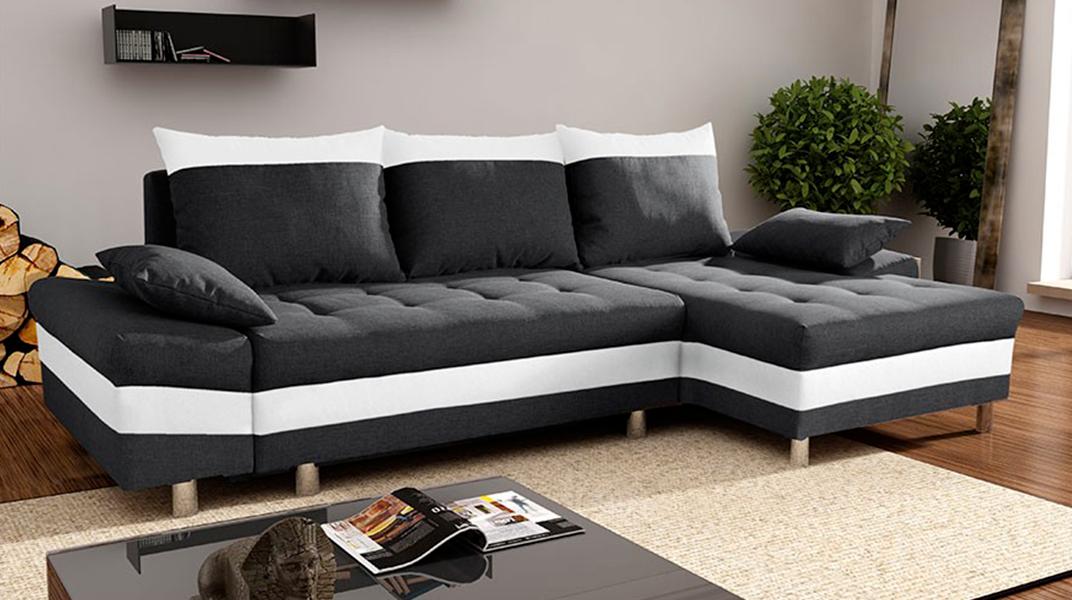 Monaco canap convertible droit noir et blanc for Canape noir et blanc convertible