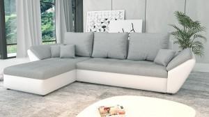 CLARA - Canapé d'angle Convertible Gauche Gris et Blanc