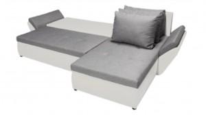 CLARA - Canapé d'angle Convertible Droit Gris et Blanc en mode couchage