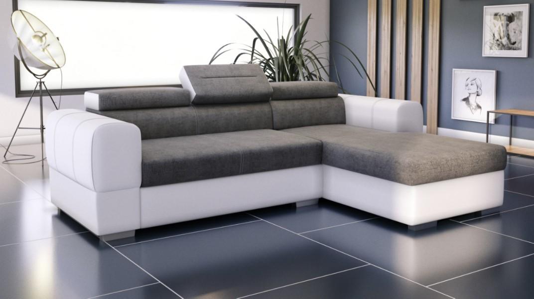 PARMA - Canapé d'angle Convertible Droit Gris et Blanc
