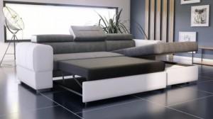 PARMA - Canapé d'angle Convertible Droit Gris et Blanc en mode couchage