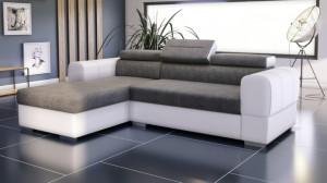 PARMA - Canapé d'angle Convertible Gauche Gris et Blanc