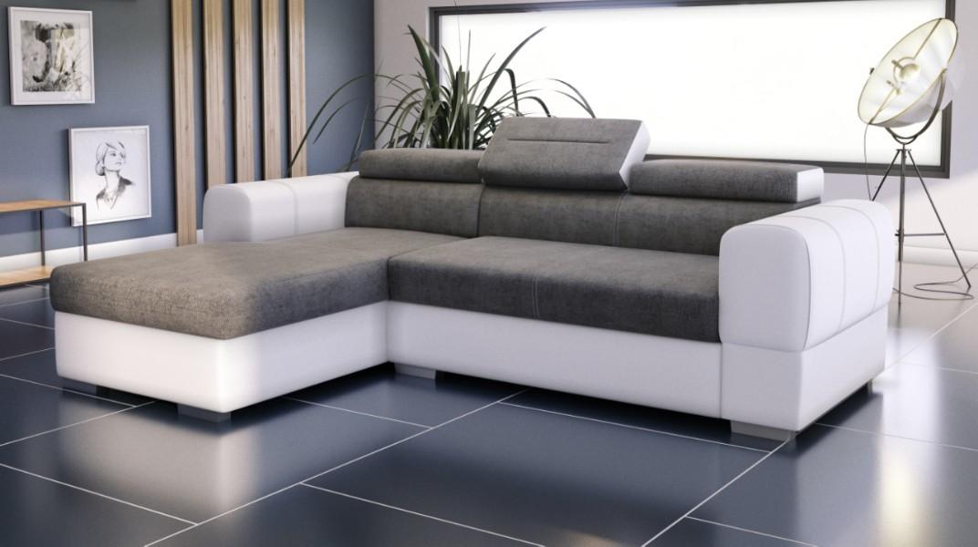 parma canap d 39 angle convertible gauche gris et blanc. Black Bedroom Furniture Sets. Home Design Ideas