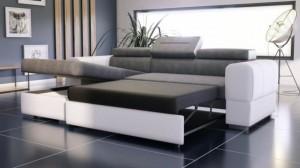 PARMA - Canapé d'angle Convertible Gauche Gris et Blanc en mode couchage