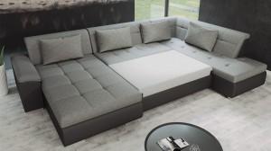 VASTO - Canapé d'angle Convertible Gauche Noir et Gris en mode couchage
