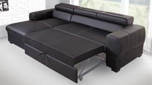 PARMA - Canapé d'angle Convertible Gauche Noir Couchage