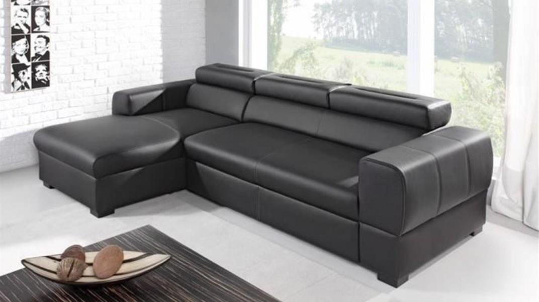 PARMA - Canapé d'angle Convertible Gauche Noir