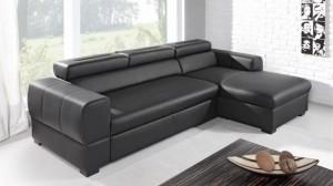 PARMA - Canapé d'angle Convertible Droit Noir