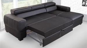PARMA - Canapé d'angle Convertible Droit Noir Couchage