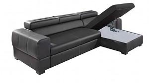 PARMA - Canapé d'angle Convertible Droit Noir Coffre