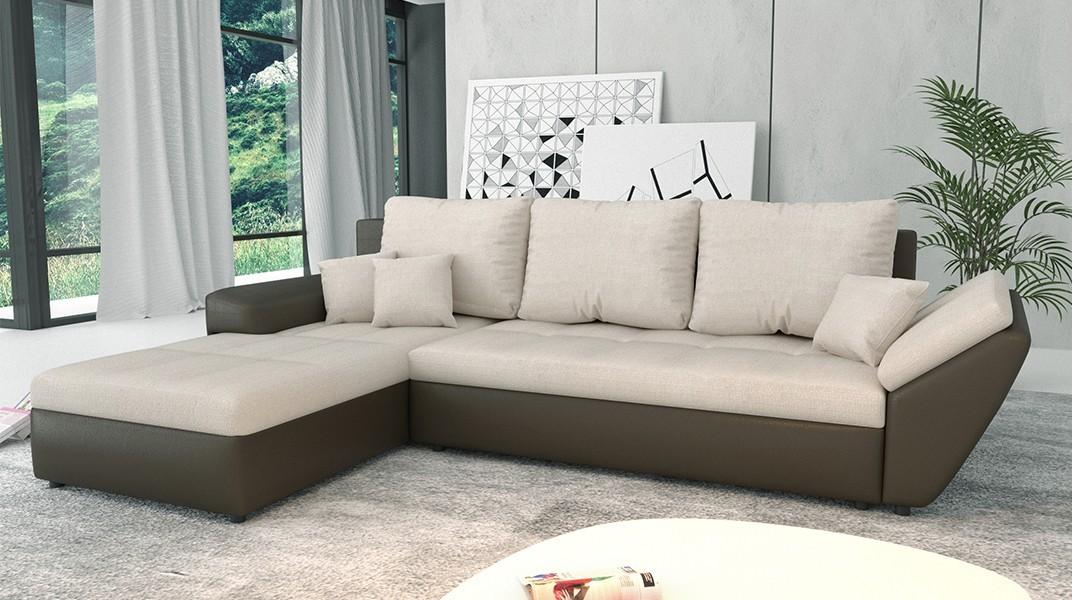 clara canap d 39 angle convertible gauche cr me marron. Black Bedroom Furniture Sets. Home Design Ideas
