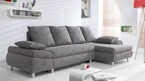 NOHA - Canapé d'angle Convertible Droit GRIS