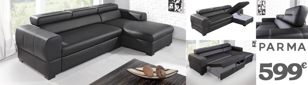 PARMA - Canapé d'angle Convertible