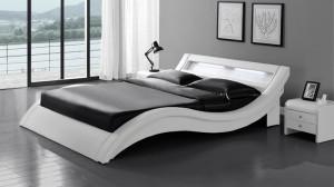 WAVE - Lit Complet Blanc 140x190 cm
