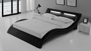 WAVE - Lit Complet Noir 140x190 cm