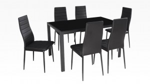 MANY - Table + 6 Chaises Noir