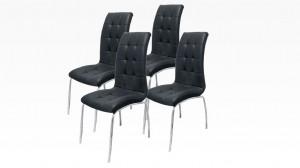 DELPHIA - Lot de 4 chaises Noir