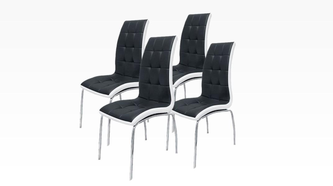 DELPHIA - Lot de 4 chaises Noir et Blanc