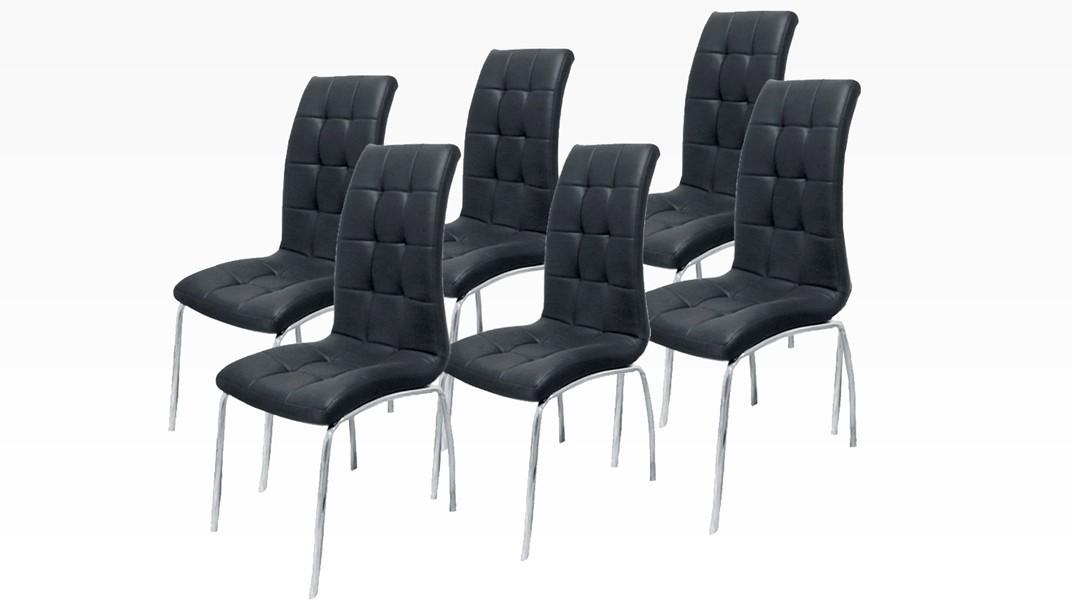 DELPHIA - Lot de 6 chaises Noir