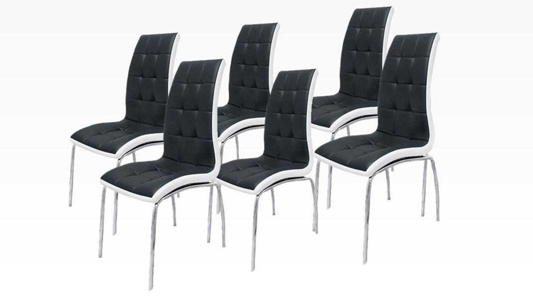 DELPHIA - Lot de 6 chaises Noir et Blanc