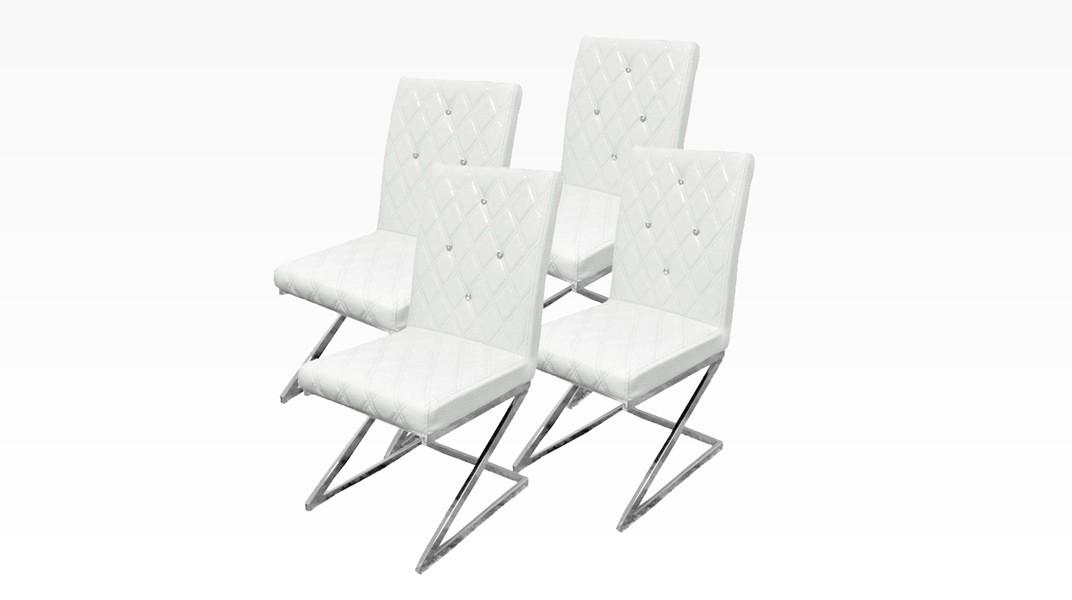 DIAMS - Lot de 4 chaises Blanc