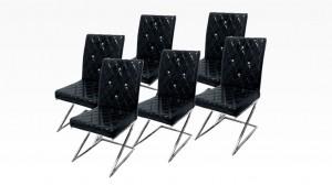 DIAMS - Lot de 6 chaises Noir