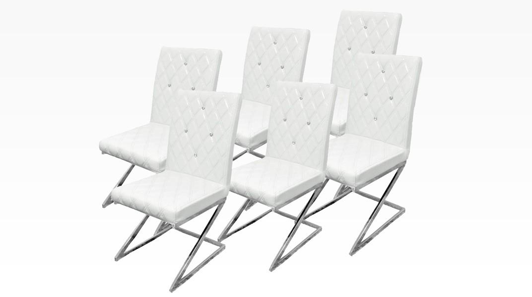 DIAMS - Lot de 6 chaises Blanc