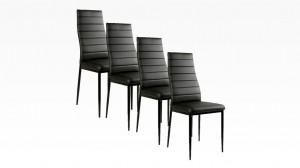 MANY - Lot de 4 chaises Noir